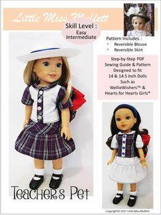 "Teacher's Pet 14-14.5"" Doll Clothes Pattern"