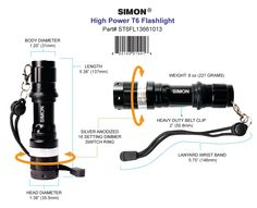 Simon Cree LED Flashlight with 16 dimmer switch settings for fan to focus beam. Designed for law enforcement and military use. Available on Amazon http://www.amazon.com/Simon-Flashlight-Enforcement-Brightest-ST6FL13661013/dp/B00DQ3F0YY/
