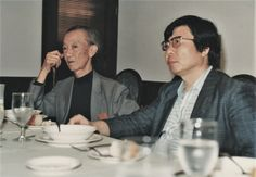 山本悍右(写真左)と清水雅人 1985.  Kansuke Yamamoto (on the left) and Masato Shimizu.