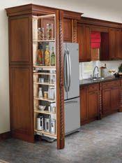 New kitchen pantry cabinet tall Ideas Skinny Kitchen, Kitchen Tops, New Kitchen, Bistro Kitchen, Cheap Kitchen, Tall Kitchen Cabinets, Kitchen Cabinet Pulls, Kitchen Appliances, Kitchen Corner Cupboard