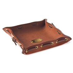 No. 3 Dresser Caddy | Handcrafted of Italian bridle leather in Lynnville, Tennessee, Colonel Littleton's personalized dresser caddy is a handsome place to empty your pockets. $65 | SouthernLiving.com