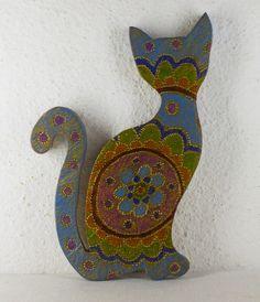 Gato decorativo verde azul