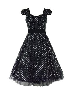 50′s Vintage Tea Prom Dress Small Polka Dot Black « Dress Adds Everyday