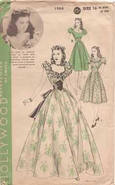 "Hollywood 1988 Hollywood Pattern featuring Vivien Leigh as ""Scarlet O'Hara"" in ""Gone with the Wind"". A Selznick International Picture. Produced by David O. A Metro-Goldwyn-Mayer Release. Vintage Dresses, Vintage Outfits, Vintage Fashion, 1930s Fashion, Vintage Girls, Victorian Fashion, Gothic Fashion, Modest Fashion, Fashion Fashion"