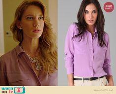 Petra's purple pocket blouse on Jane the Virgin.  Outfit Details: http://wornontv.net/38400/ #JanetheVirgin