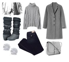 """""""Gray Sweater Kind of Day"""" by elisenotelsie ❤ liked on Polyvore featuring Effy Jewelry, SOREL, True Religion and Gap"""