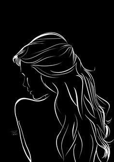 Lady – peinture d'art – Black And White Art Drawing, Black Paper Drawing, Pencil Art Drawings, Art Drawings Sketches, Black Aesthetic Wallpaper, Shadow Art, Silhouette Art, Silhouette Portrait, Aesthetic Art
