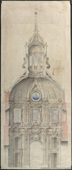 [Proyecto para una capilla de Santa Teresa en la iglesia del Convento de Clérigos del Espíritu Santo en Madrid]. Ardemans, Teodoro 1664-1726 — Dibujo — 1693