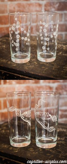Keep your neurons firing while you stay hydrated. These elegant drinking glasses sport water molecules so you can consider water's cohesive property while you sip.  #Water #chemistry #cohesion #DNA #replication