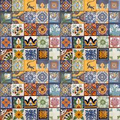 "100 Hand Painted Talavera Mexican Tiles 2""x2""-"
