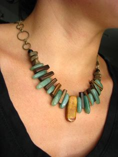 Jewelry - Tribal Bohemian Necklace - Coconut, Aventurine and Jasper.