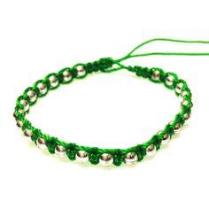 Green Small Chrome Bracelet-£1 #prettytwisted #bracelet http://prettytwistedonline.co.uk/product/green-small-chrome-beaded-bracelet/