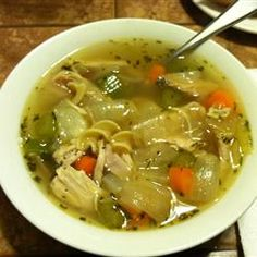 Fast Chicken Soup Base  Allrecipes.com   2 quarts chicken broth* 1 quart water*  1 store-bought roast chicken* 3 tablespoons vegetable oil* 2 large onions* dice 2 large carrots, peeled and cut into  rounds or half rounds, depending on size  2 large stalks celery, sliced 1/4 inch thick * 1 teaspoon dried thyme leaves