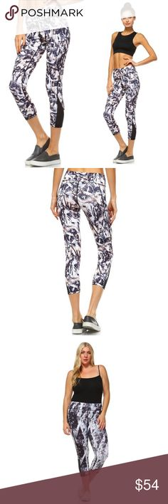 🆕 S-2X! Paint Print Workout Capris Get your workout on without the big ticket price! Stretch knit with mesh-paneled sides. 88% polyester 12% spandex. No trades. No lowball offers. Pants