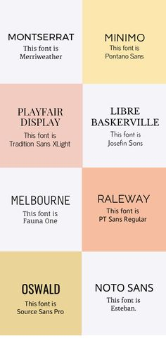 8 Font Pairings for Web Text and Headings | Plus, a FREE font inspiration kit with more retro, modern, script + handwritten fonts to try. Click through to see them all!