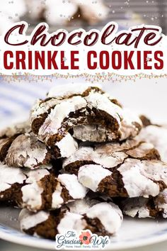 Chewy fudgy Chocolate Crinkle Cookies are pretty and easy to make. They're rich and decadent and are perfect for cookie exchanges! Crinkle cookies don't always have the best reputation. They can be dry and even a little bland. But these chocolate crinkle cookies fit none of those criteria! The Gracious Wife @thegraciouswife #crinklecookierecipe #chocolatechristmascookies #holidaycookies #christmascookies #thegraciouswife Christmas Party Food, Christmas Cooking, Christmas Desserts, Christmas Treats, Christmas Recipes, Christmas Goodies, Holiday Treats, Chocolate Christmas Cookies, Chocolate Crinkle Cookies