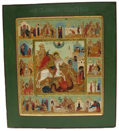 This icon of Saint George Slaying the Dragon was painted by Russian Iconographer Alyona Knyazeva in 1997. It shows the important scenes from his life.
