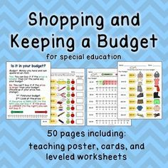 This budgeting resource contains 50 pages to help you teach this skill in your classroom! A teaching poster is included, as well as individual student cards to help them practice this skill, and of course, over 40 leveled worksheets as well! Life Skills Activities, Life Skills Classroom, Teaching Life Skills, Math Classroom, Math Lessons, Teaching Math, Teaching Ideas, Classroom Ideas, Consumer Math
