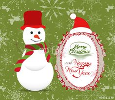 Vector: Merry Christmas with snowman illustrations greeting card