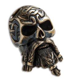 RUS Beads Shop Bearded Viking Skull w/ Moving Jaw Lanyard Bead - Bronze Paracord Beads, Paracord Keychain, Paracord Bracelets, Vikings, Viking Head, Beard Rings, Beard Beads, Viking Jewelry, Men's Jewelry