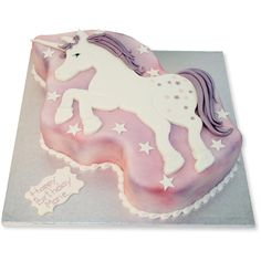 Unicorn Cake simple cut icing cake for kids birthday