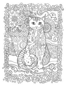 Creative Coloring Books Beautiful Creative Cats Colouring Book Bloomer Cat by Marjorie Sarnat Coloring Pages Free Adult Coloring, Dog Coloring Page, Adult Coloring Book Pages, Cute Coloring Pages, Animal Coloring Pages, Coloring Sheets, Coloring Books, Cuadros Diy, Cat Colors