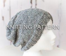 Knitting Pattern - Slouch Beanie Hat - Children, Adult, Aran weight yarn - Instant Download