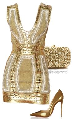 """Golden girl"" by efiaeemnxo ❤ liked on Polyvore featuring moda, Christian Louboutin, gold, christianlouboutin, balmain, sbemnxo y styledbyemnxo"
