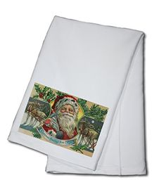 Christmas Greetings from Oregon  Santa and Reindeer 100 Cotton Kitchen Towel *** Continue to the product at the image link.
