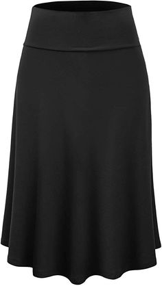 Lock and Love Women's Solid Ombre Lightweight Flare Midi Pull On Closure Skirt S-XXXL Plus Size at Amazon Women's Clothing store