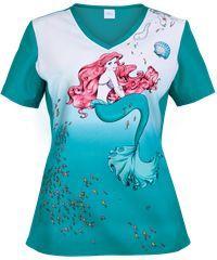Cherokee Tooniforms Little Mermaid Scrub Top & Disney Scrubs