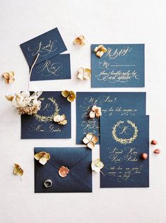 Black wedding invitation with gold calligraphy | Vitaly Ageev Photography #weddinginvitation