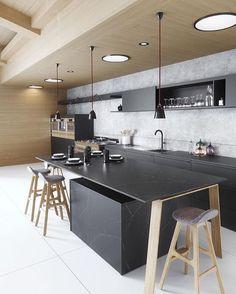 A stunning black kitchen designed by @cosentinona 👌🏻 . Good night all! . #kitchen #kitchendesign #nordichome #nordicinspiration