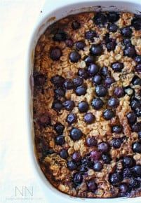 Sweet baked blueberry oatmeal filled with rolled oats, blueberries, maple syrup and bananas. This is the perfect make ahead breakfast.