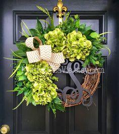 Front Door Wreaths Monogram Wreaths Hydrangea by FleursDeLaVie