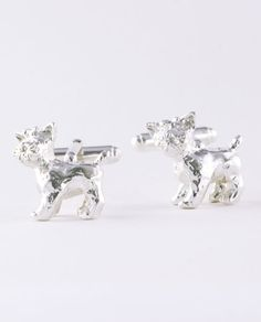 Handcrafted sterling silver 3-dimensional Yorkshire Terrier cufflinks