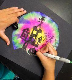 smART Class: Got Coffee Filters? Camping Art, Simple Art, Holiday Art, Halloween Art Lessons, Autumn Art, Halloween Art