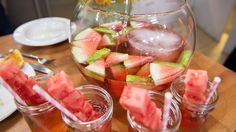 Cool down your summer soirées with the Pioneer Woman's recipe for refreshing watermelon sangria spiked with sparkling wine and rosé.
