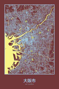 Osaka, Japan Map Print