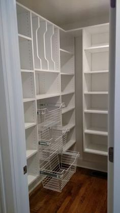 Walk in pantry! Pull out baskets, tray divider, adjustable shelves. Walk in pantry! Pull out baskets, tray divider, adjustable shelves. Pantry Room, Home Organization, Home Remodeling, Pantry Remodel, Storage, Kitchen Organization, Adjustable Shelving, Kitchen Pantry Design, Remodel Bedroom
