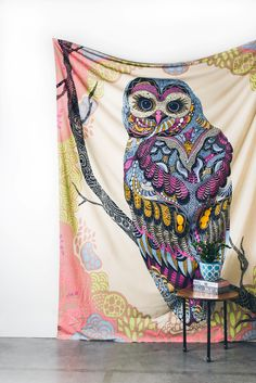 Patchwork Owl Textile Wall Hanging - Wall Decor - Earthbound Trading Co. .:Love the colorrrrrsssss! Would be great in the living room or Station:.