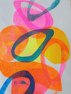 Art HC kunst kleur ringen rond blauw roze geel schilderij fluo