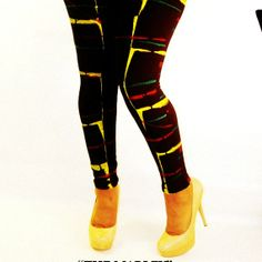 Womens Leggings - RASTA COLORS Red, Yellow, Green Painted Leggings availible in sizes S,M,L