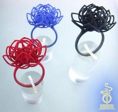 Linear lotus ring delicate: size M, US size 6 by unellenu on Shapeways, the 3D printing marketplace