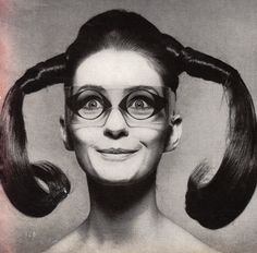 """Mrs. Tony Curtis wearing """"EyeEye"""" Glasses by Mario Marenco,Vogue - March 15th 1967,  Photographed by Ugo Mulas"""