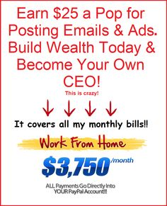This is a work at home job. The more time invested, the more money you can make. It is a direct sales business opportunity allowing 100% commissions.  BY POSTING ADS ON SOCIAL MEDIA:  FACEBOOK, INSTAGRAM and CRAIG'S LIST, ETC., YOU CAN MAKE UP TO $300/DAY. EARN $25 A POP TO YOUR PAYPAL ACCOUNT! THIS STRATEGY IS RIGHT ON TRACK TO EARNING YOU PASSIVE INCOME! Make Money Now, Make Money From Home, Earn Money, Make Money Online, Online Business, Business Marketing, Business Women, Internet Entrepreneur, Post Ad