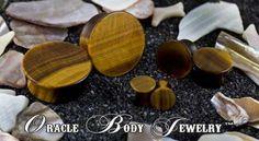 Mayan Flared Yellow Tiger Eye Plugs by Oracle Body Jewelry