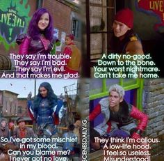 """Mirrir mirror on the wall who is the badest of them all?"" --- mal evie carlos & jay from rotten to the core from disney descendants"