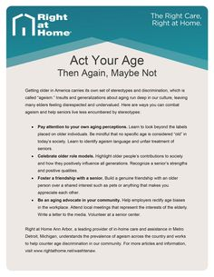 Learn ways to prevent #ageism, or #agediscrimination, in this #AnnArbor #SeniorCare Quick Tip Guide. For more information about #aging and #homecare, visit the Right at Home Ann Arbor blog at www.rightathome.net/washtenaw. #agingtips #elderlycare #seniorcaretips #caregivingtips