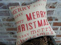 Merry Merry Merry Christmas Burlap Pillow